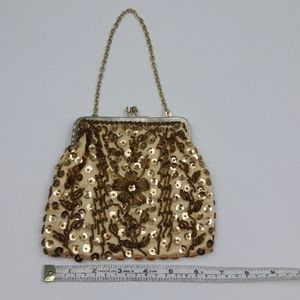 Vintage Gold Sequin & Bead Evening Bag Purse